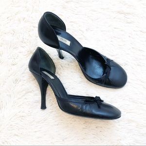 Prada Black D'orsay Bow Slim Heel Rounded Toe Shoe